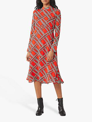 Finery Liya Check Dress, Red