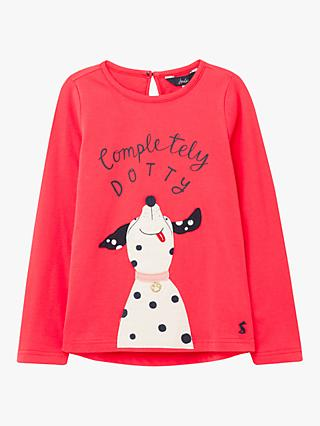 Little Joule Girls' Ava Completely Dotty Dog Top, Red