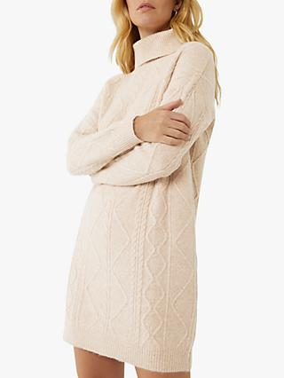 Warehouse Cable Knit Jumper Dress, Beige