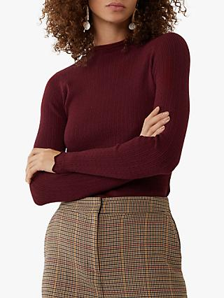 Warehouse Mini Cable Knit Round Neck Jumper, Dark Red