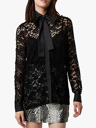French Connection Baen Lace Velvet Blouse, Black