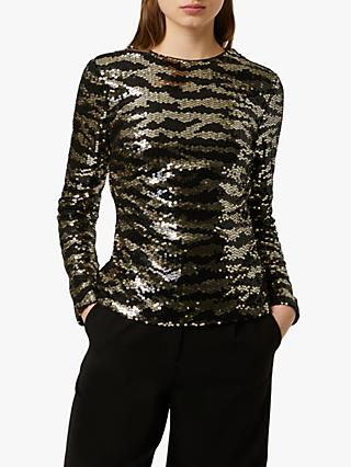 French Connection Ebba Tiger Sequin Top, Black