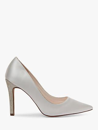 Rainbow Club Kiki Fine Shimmer Satin Court Shoes, Ivory