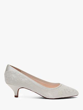 Rainbow Club Bobbie Luxury Lace Court Shoes, Ivory