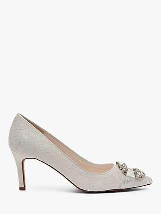 Rainbow Club Giovanna Luxury Lace Jewel Court Shoes, Ivory