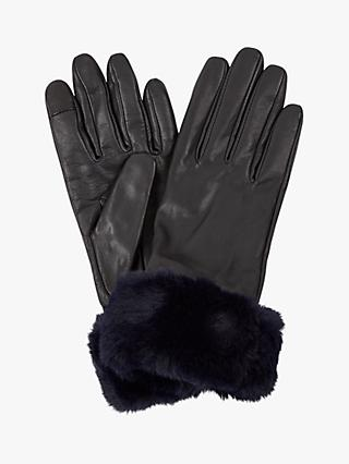 Hobbs Camilla Faux Fur Trim Leather Gloves, Black/Navy