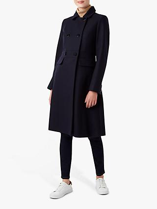 Hobbs Petite Corrine Tailored Double Breasted Coat, Navy
