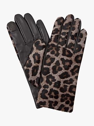 Hobbs Emma Animal Leather Gloves, Grey Leopard