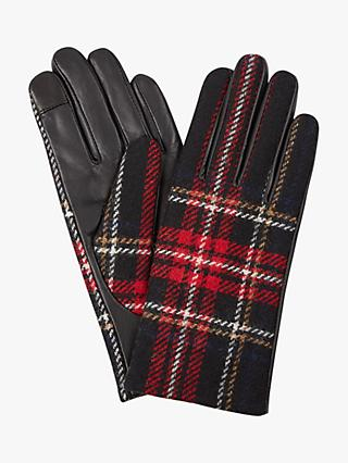 Hobbs Emma Checked Leather Gloves, Red Check