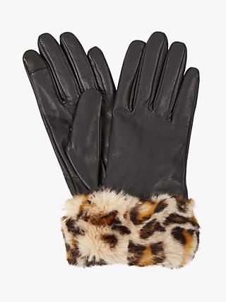 Hobbs Camilla Leopard Print Faux Fur Trim Leather Gloves, Black/Brown