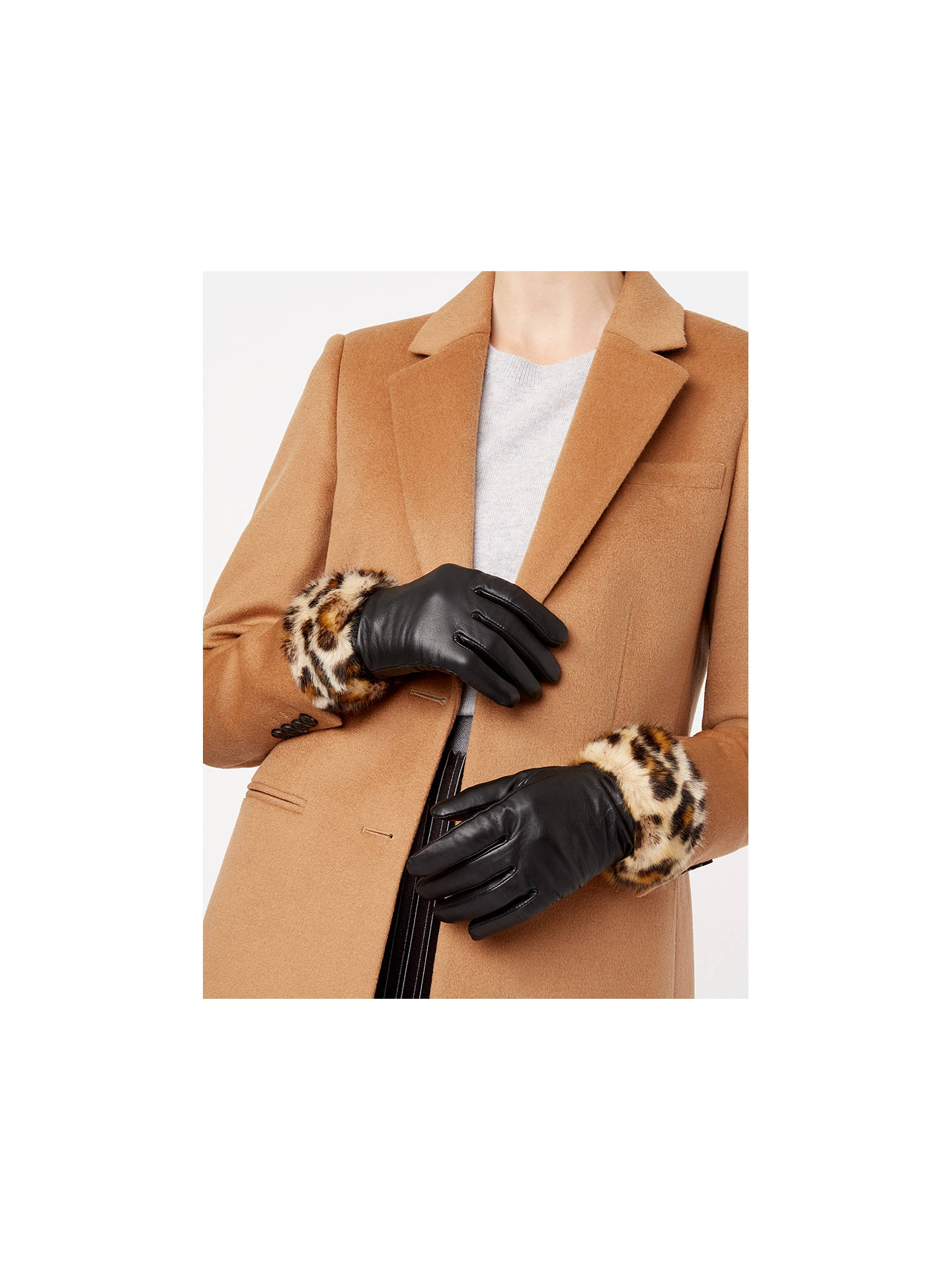 Buy Hobbs Camilla Leopard Print Faux Fur Trim Leather Gloves, Black/Brown, S-M Online at johnlewis.com