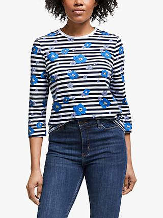 Collection WEEKEND by John Lewis Darcie Floral Stripe T-Shirt, Multi