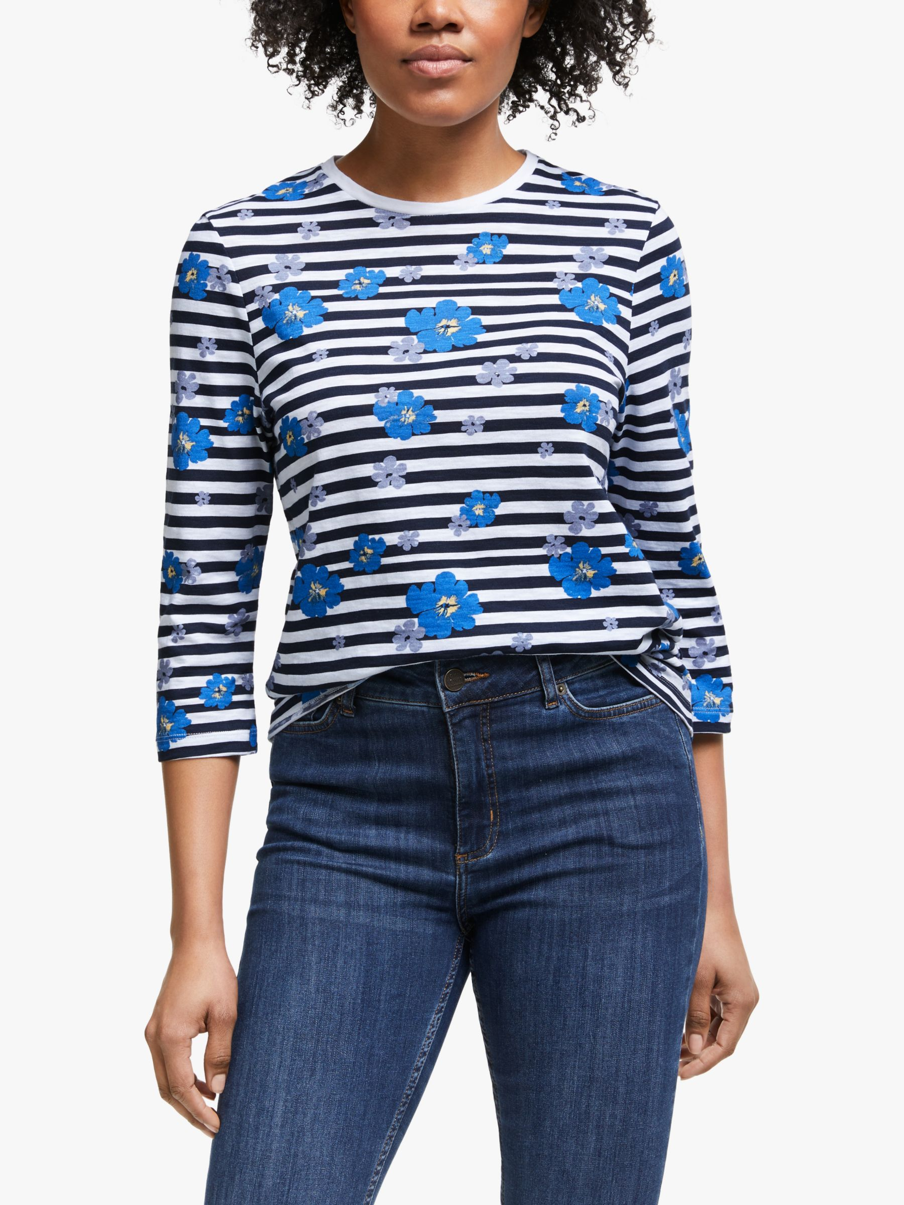 Collection WEEKEND by John Lewis Collection WEEKEND by John Lewis Darcie Floral Stripe T-Shirt, Multi