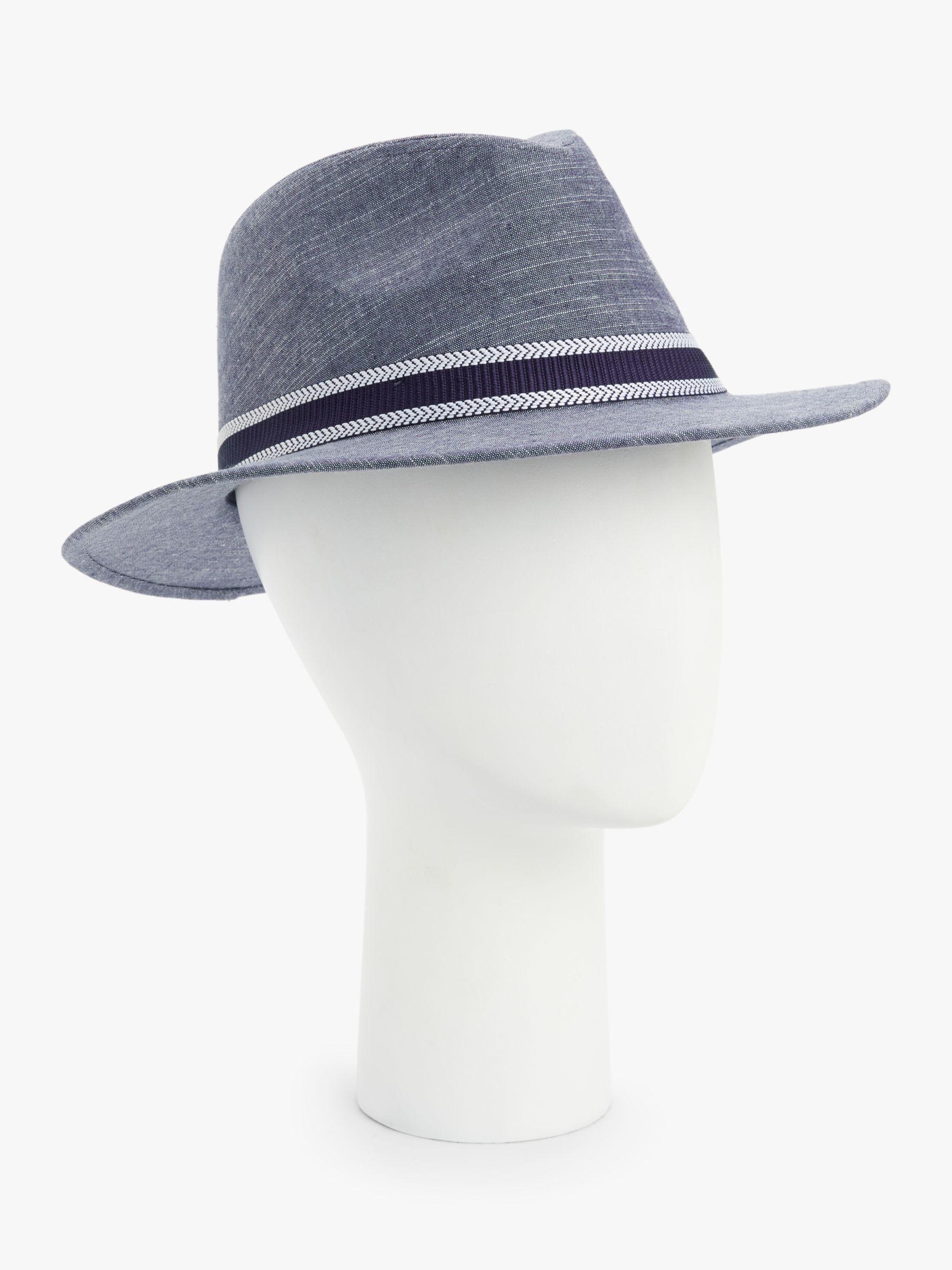 Failsworth Failsworth Cotton Linen Fedora Hat, Blue