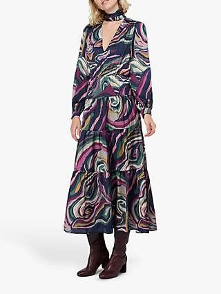 Monsoon Maddie Marble Print Tiered Midaxi Dress, Navy