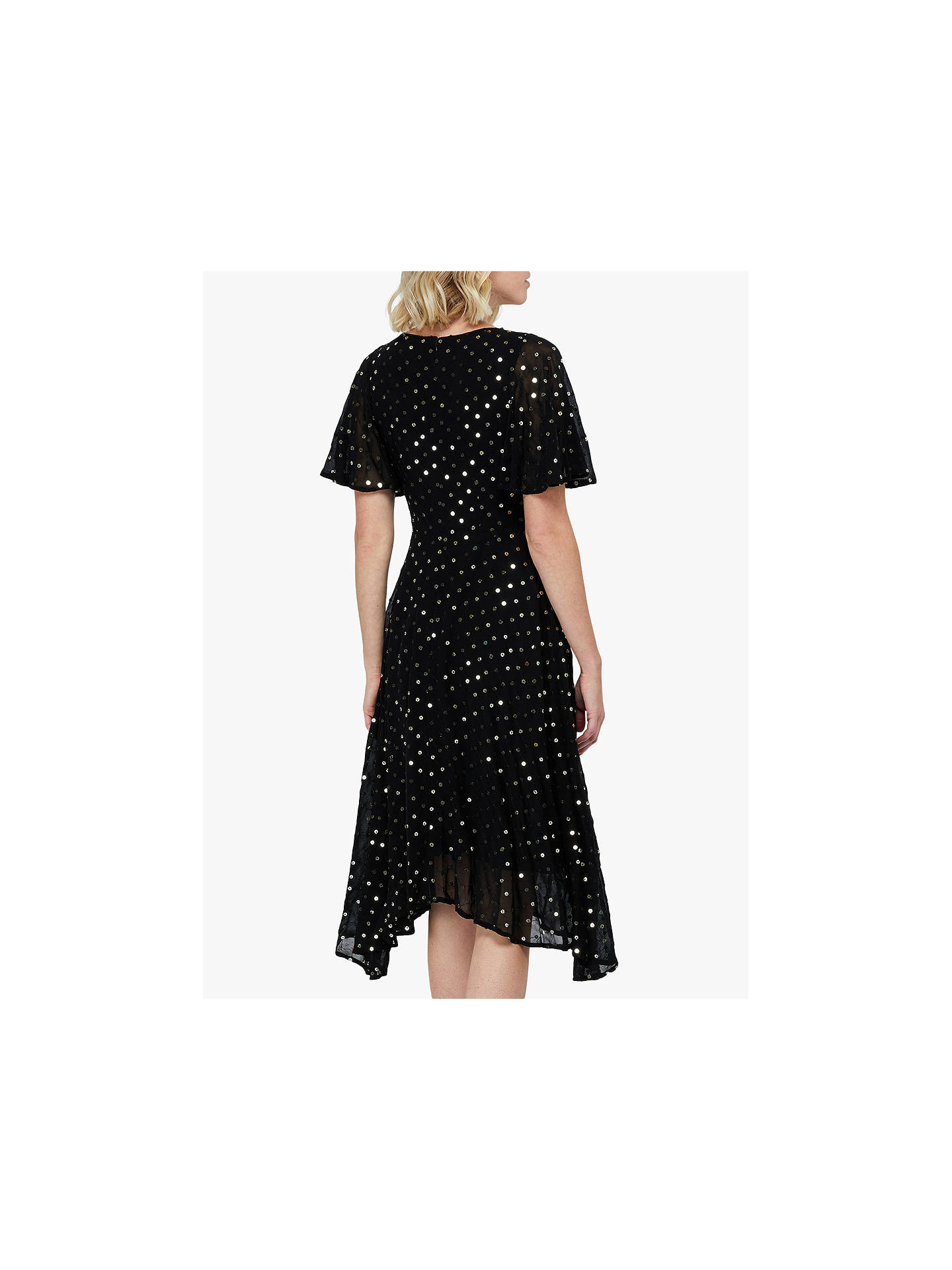Buy Monsoon Dela Sequin Hanky Hem Tea Dress, Black, 8 Online at johnlewis.com