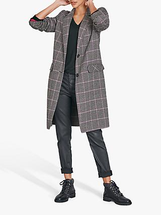hush Double Faced Check Coat, Check