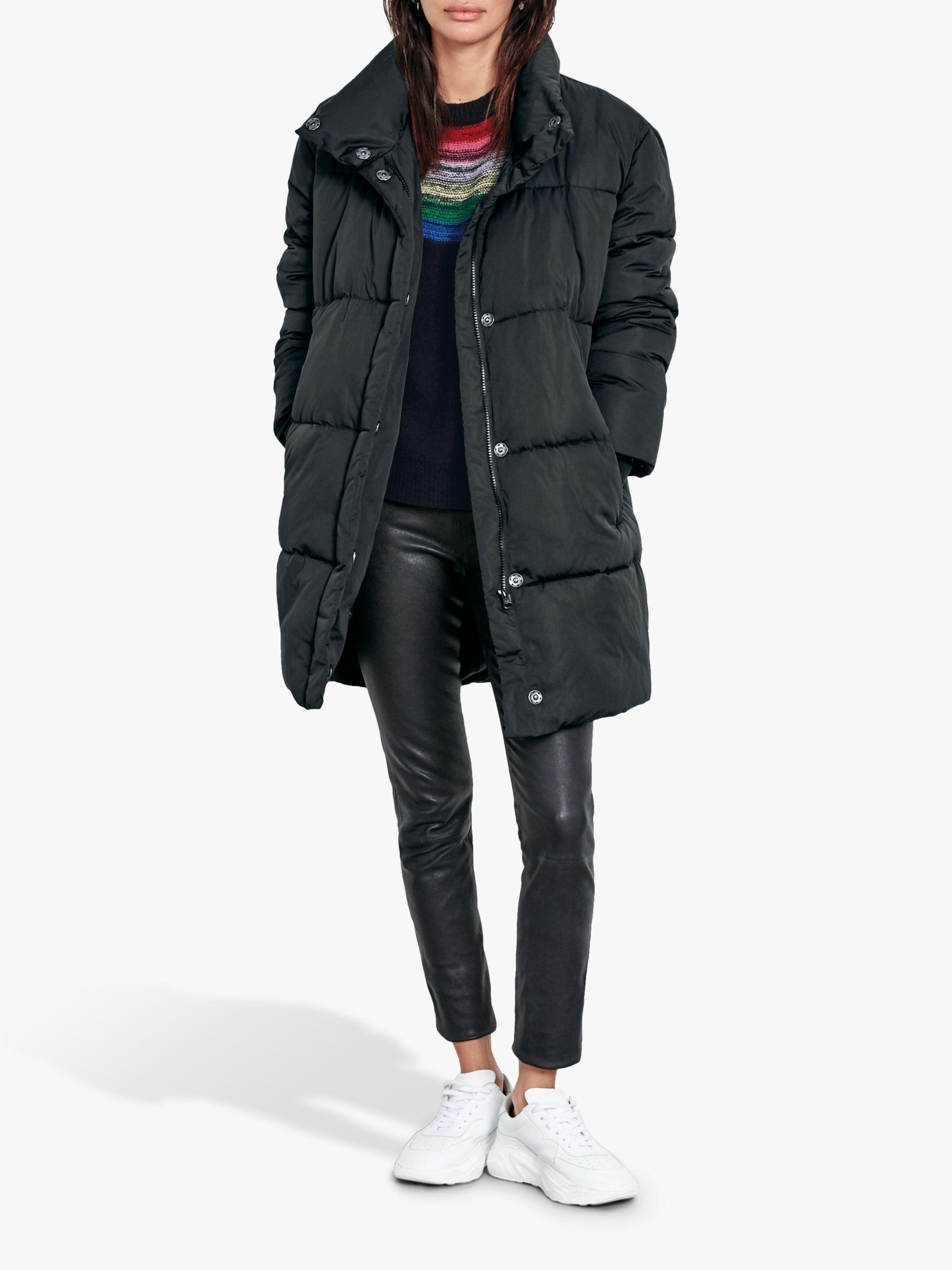 hush hush Longline Puffer Coat, Black