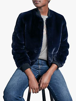 hush Kanza Fur Bomber Jacket, Navy