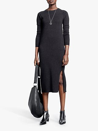 hush Knitted Midi Dress, Charcoal Marl