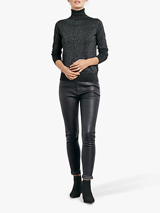 hush Leather Jeans, Black