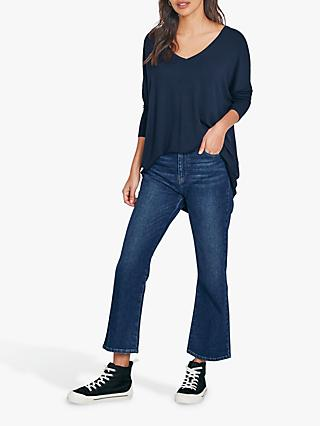 hush Willow Cropped Flare Jeans, Blue Denim