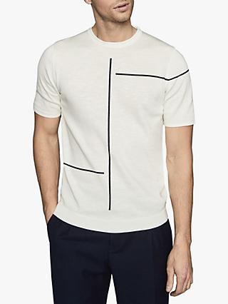 Reiss Vincente Stripe Detail Short Sleeve Top, Ecru