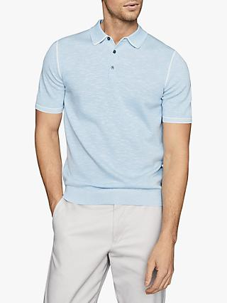Reiss Pedro Tipped Melange Knitted Polo Shirt, Soft Blue