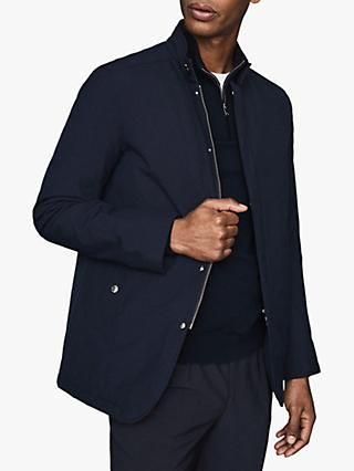 Reiss Quinn Quilted Harrington Jacket, Navy