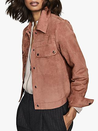 Reiss Nina Suede Trucker Jacket, Pale Pink