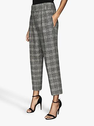 Reiss Arya Checked Pleated Front Trousers, Multi
