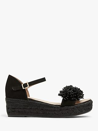 AND/OR Kady Leather Pom Pom Wedge Heel Sandals, Black