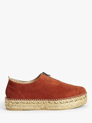 John Lewis & Partners Kourtney Flatform Espadrilles, Burnt Orange