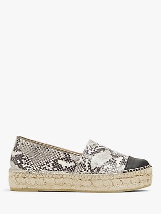 AND/OR Elbe Leather Flatform Espadrilles, Grey