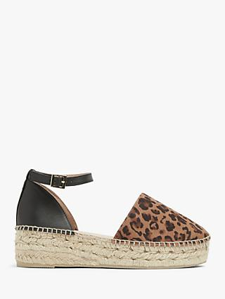 AND/OR Krystal Leather Leopard Print Platform Espadrilles, Black/Brown