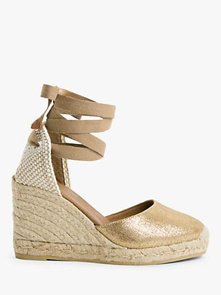 AND/OR Karina Leather Espadrille Wedge Heel Sandals, Gold