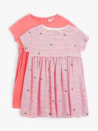 John Lewis & Partners Baby GOTS Organic Cotton Bee Dress, Pack of 2, Pink