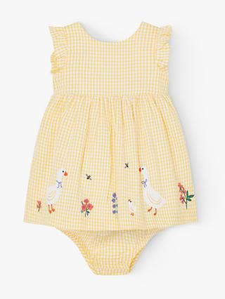 John Lewis & Partners Gingham Dress and Knickers Set, Light Yellow