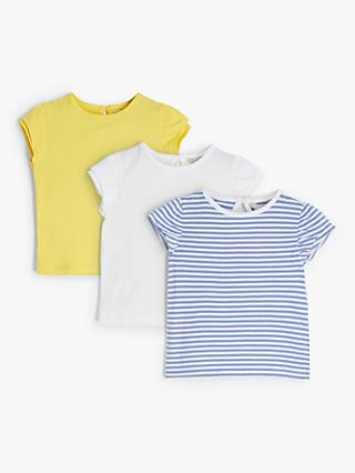John Lewis & Partners Baby Frill Sleeve T-Shirt, Pack of 3, Multi
