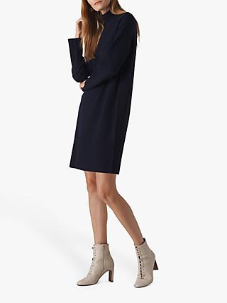 Whistles Rib Sleeve Knit Dress, Navy