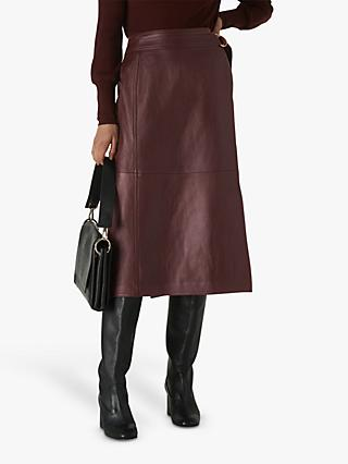 Whistles Selina Leather Wrap Skirt, Burgundy