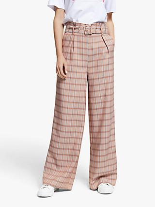 Gestuz Jingz Check Wide Leg Trousers, Brown