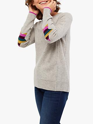 White Stuff Aliva Cashmere Jumper, Silver Grey/Multi