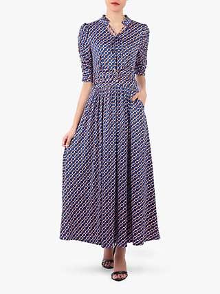 Jolie Moi Tie Neck Maxi Dress, Blue Geo