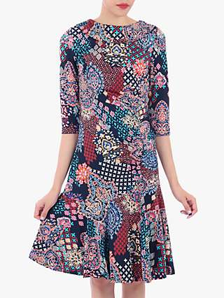 Jolie Moi Roll Collar Ruched Midi Dress, Paisley Multi