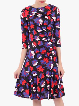 Jolie Moi Roll Collar Ruched Midi Dress, Black Floral