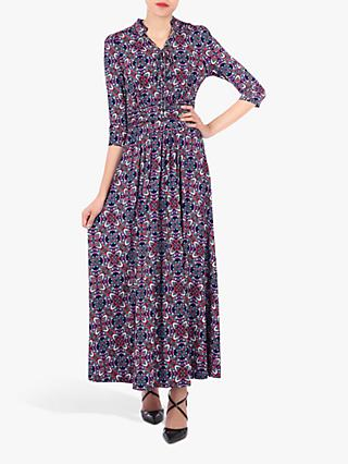 Jolie Moi Retro Print Tie Neck Maxi Dress, Multi