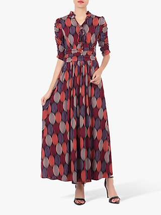 Jolie Moi Tie Neck Geometric Print Maxi Dress, Multi