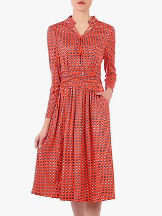 Jolie Moi Geometric Tie Neck Dress, Orange