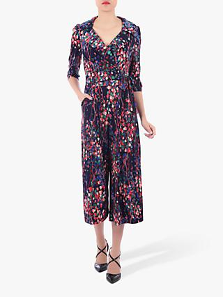 Jolie Moi Floral Print Cross Over Jumpsuit, Navy/Multi